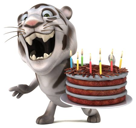 Fun tiger - 3D Illustration Stok Fotoğraf