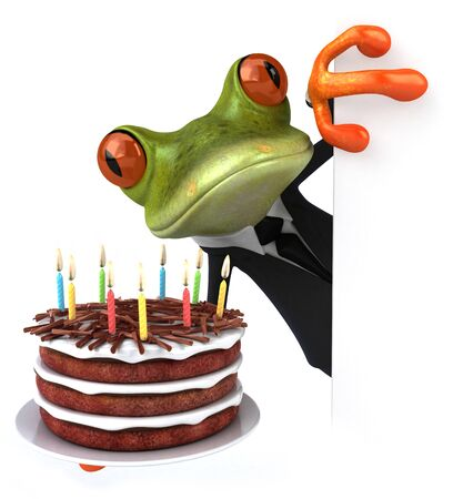 Fun frog with a birthday cake - 3D Illustration Фото со стока