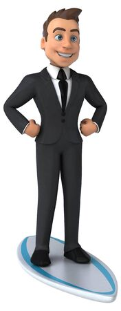 Fun 3D business character surfing