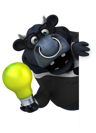 Black bull - 3D Illustration Stok Fotoğraf
