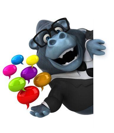 Fun gorilla - 3D Illustration Stok Fotoğraf