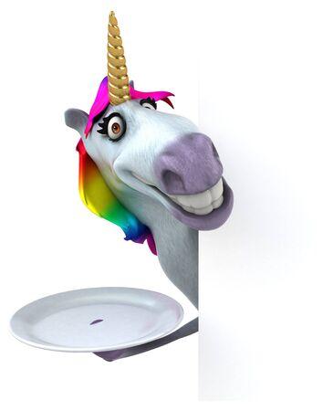 Fun unicorn - 3D Illustration Фото со стока