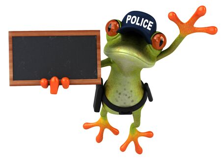 Fun 3D Cartoon frog police officer