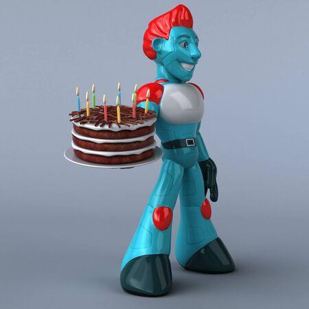 Red Robot - 3D Illustration Reklamní fotografie