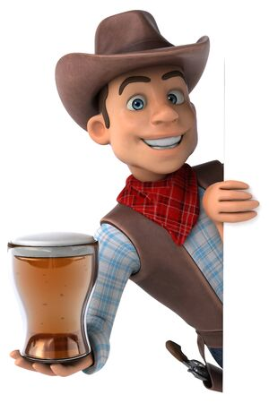 Fun Cowboy - 3D Illustration 写真素材