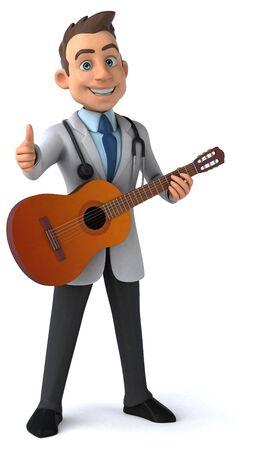 Fun doctor and guitar - 3D Illustration 版權商用圖片