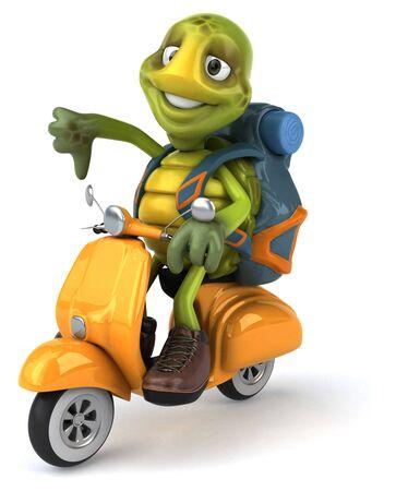 Fun turtle traveling - 3D Illustration Stock fotó
