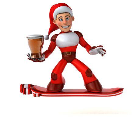 Fun Super Santa Claus - 3D Illustration 版權商用圖片 - 131600456