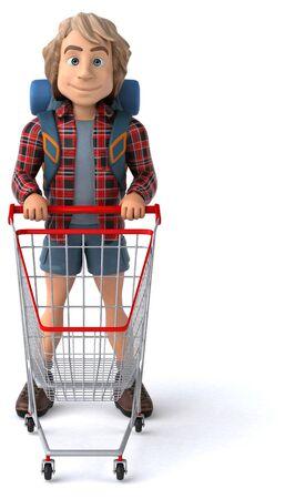 Man solo traveling backpacker - 3D Illustration