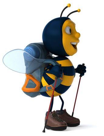 Fun backpacker bee - 3D Illustration 写真素材