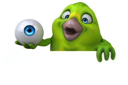 Fun green bird - 3D Illustration Stok Fotoğraf