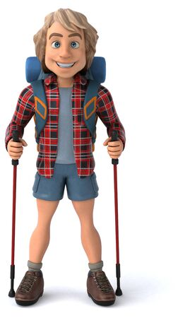 Fun backpacker with walking sticks - 3D Illustration