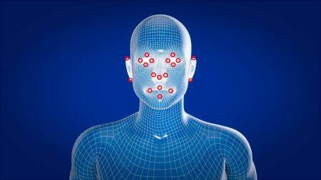 Human xray, human anatomy facial recognition, 3D Illustration