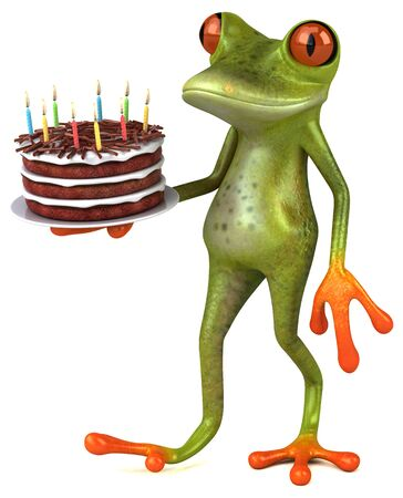 Fun frog with a birthday cake - 3D Illustration Banco de Imagens