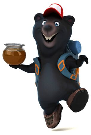 Fun 3D bear backpacker cartoon character