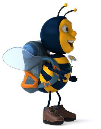 Fun backpacker bee - 3D Illustration Stock fotó