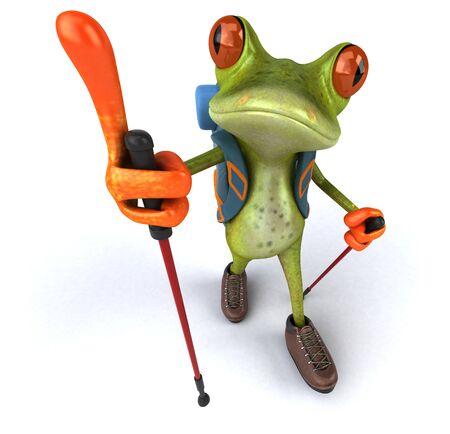 Fun backpacker frog - 3D Illustration 版權商用圖片
