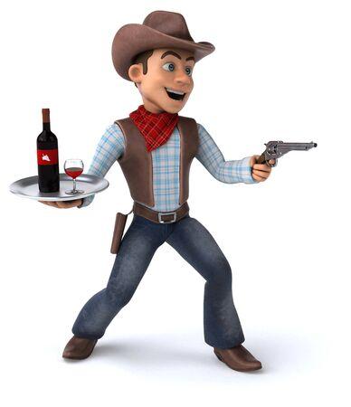 Fun Cowboy - 3D Illustration Zdjęcie Seryjne