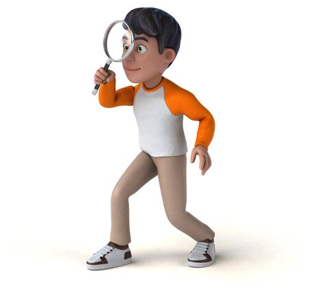 Fun 3D cartoon Asian teenager Stockfoto