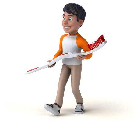 Fun 3D cartoon Asian teenager Zdjęcie Seryjne
