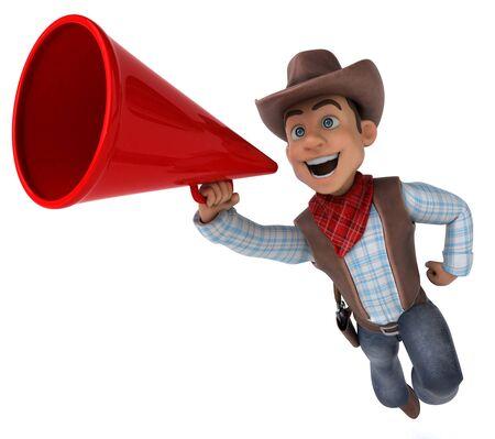 Fun Cowboy - 3D Illustration Stok Fotoğraf