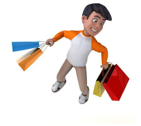 Fun 3D cartoon Asian teenager Stok Fotoğraf