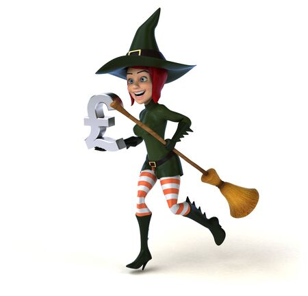 Sexy witch - 3D Illustration Stok Fotoğraf