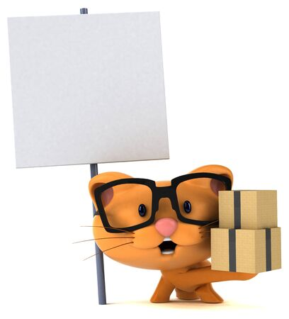 Fun cat - 3D Illustration Stok Fotoğraf - 146996206