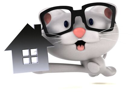 Fun cat - 3D Illustration Stok Fotoğraf - 146996316