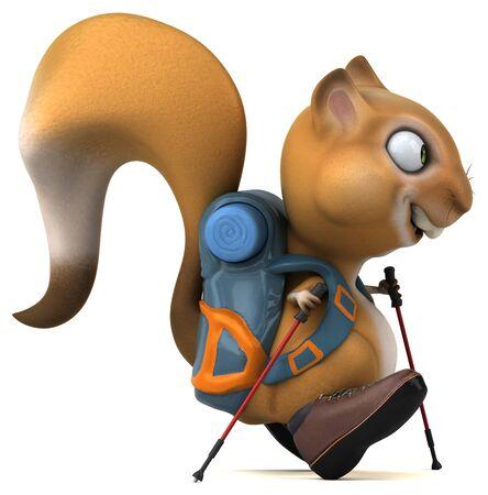 Fun 3D squirrel backpacker cartoon character Stok Fotoğraf - 146996337