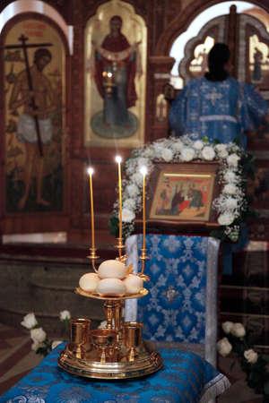vespers: Orthodox church ceremony Stock Photo