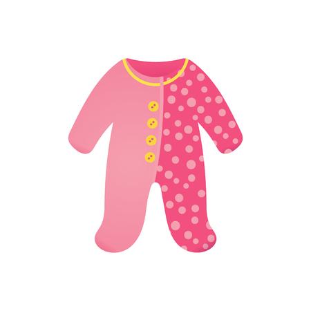 Rosa Baby Body, süßer Strampler für ein Neugeborenes. Babyparty-Cartoon-Element. Vektorillustration lokalisiert auf Weiß. Vektorgrafik