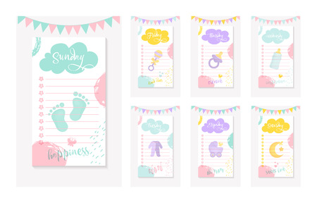 A set of Daily To do Lists for a mother of a newborn kid. Cartoon Baby Shower party elements. For shopping design, posters, brochures, flyers and journaling. Vector Illustration EPS 10 file Illustration