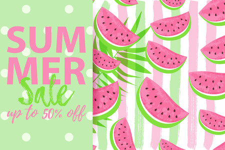 SUMMER SALE up to 50% OFF banner with seamless Watermelon Pattern isolated on hand drawn brush background. Fresh fruits seasonal sales background flat style. Vector illustration eps 10 file
