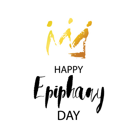 Happy Epiphany day greeting card with hand drawn golden crown and realistic stars. Celebration festive banner template. Vector illustration EPS 10 file