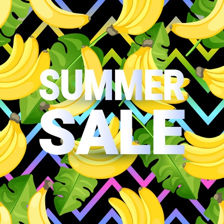 SUMMER SALE card with a pattern of flat style banana with palm leaves on abstract zig zag background. Retro tropical letters. Creative lettering for seasonal sales. Vector illustration