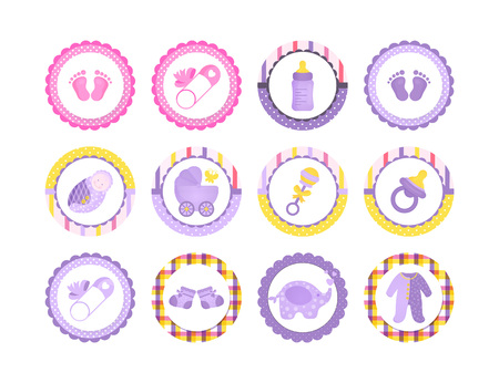 A set of Cartoon Baby shower tag for girl and boy, sticker for shopping list, market advertising.