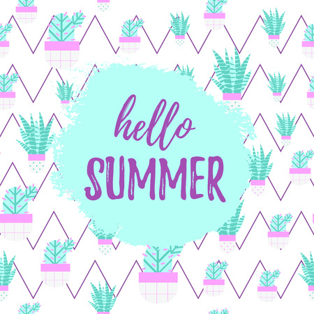 HELLO SUMMER greeting banner. Cute Seamless Cactus Pattern and Succulent plant with cute pots on zigzag background. Editable elements for textile, print, home landscape design. Vector illustration