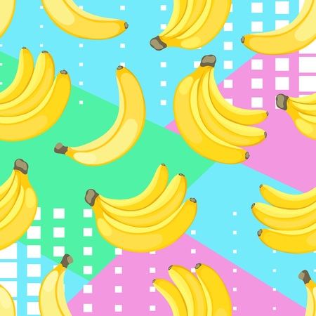 Seamless pattern of yellow bananas on hand drawn striped ink background. Illustration