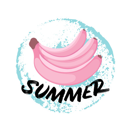 Hello Summer greeting card with Banana flat style. Hand drawn Hello Summer lettering on grunge ink background. Cute print for t-shirt, congratulation message. Vector Illustration typographical background with cartoon ripe Bananas. Ilustração
