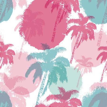Nahtloses Muster der Hand gezeichneten Palmen lokalisiert auf Pinselhintergrund. Exotisches trendiges Design mit tropischer Kokospalme. Gestaltungselement für T-Shirt, Textildruck, Web, Plakat. Vektor-Illustration EPS 10-Datei.