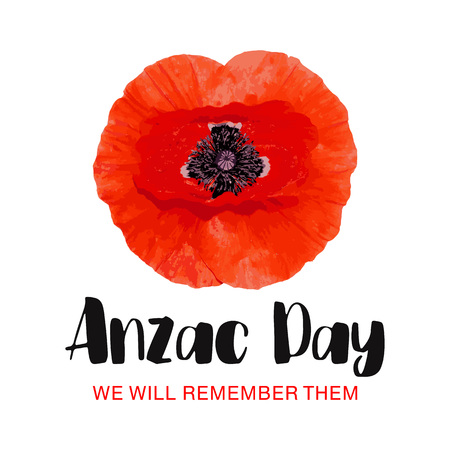 Anzac Day vector card. We will remember them. Red Poppy flower International Remembrance Day symbol of peace. Vector Illustration EPS 10 file.
