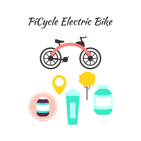 Electric Bicycle concept design set isolated on white. Special Picycle bike, bottle for sport drinks and location mark. Eco Transport Vector Illustration.