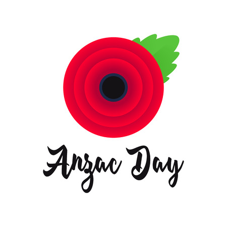 Anzac Day vector poster. Lest We forget. Realistic Red Poppy flower - a symbol of International Day of Remembrance. Vector Illustration EPS 10 file.