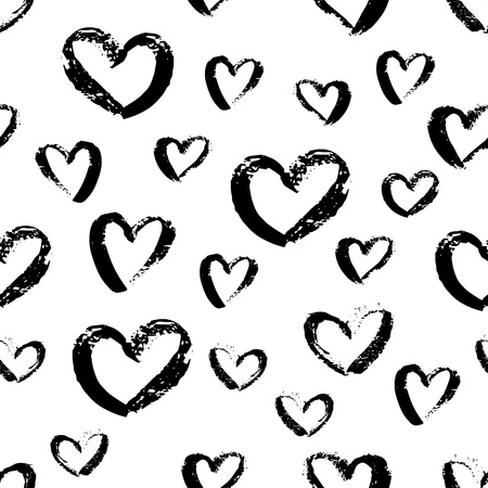 Seamless hand drawn hearts pattern. Cute Ink design for t-shirt, dress, cloths. Stock Photo