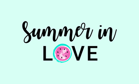 Summer in LOVE Watermelon greeting card, cute print for t-shirt. Vector Illustration typographical background with hand drawn watermelon.