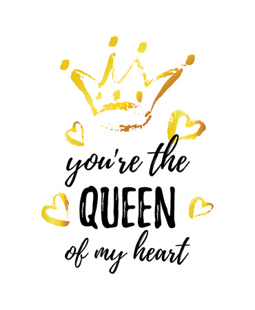 You are the Queen of my Heart greeting card. Hand drawn crown and hearts.