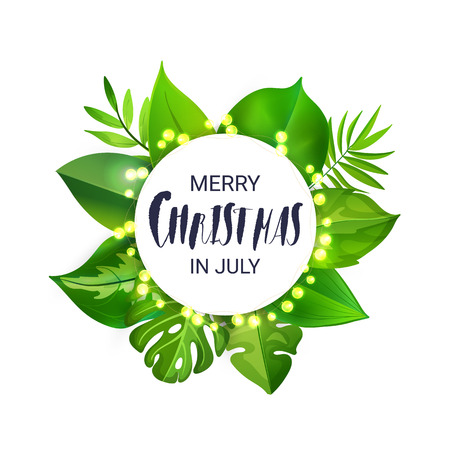 Merry Christmas in July floral banner with luminous garland and tropical palm leaves.