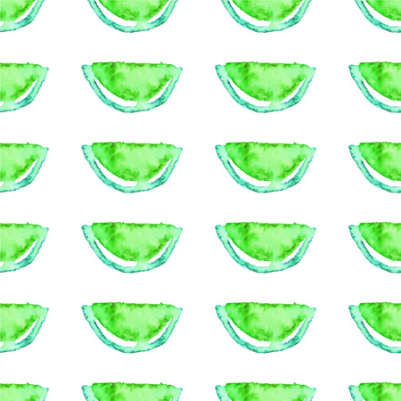 Seamless Watercolor Kiwi tropical pattern. Green Lime fruit exotic background. Real water color drawing. Vector illustration EPS10 file.