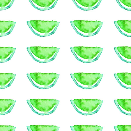 Seamless  Lime and Kiwi fruits tropical pattern. Green fruit exotic background.